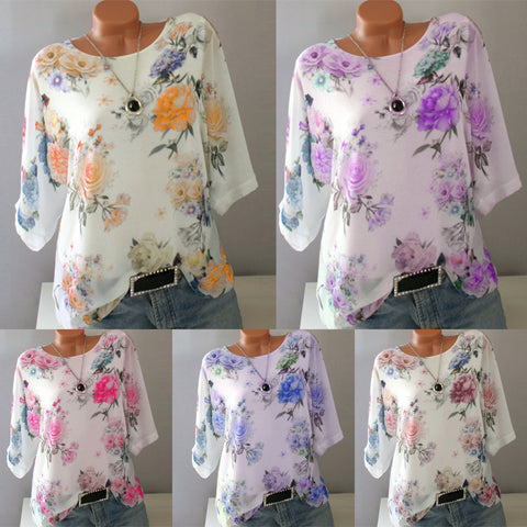 S-5XL Plus Size Ladies Retro Flower Printing Round Neck Shirt Short Sleeve Casual Summer Blouse Tops