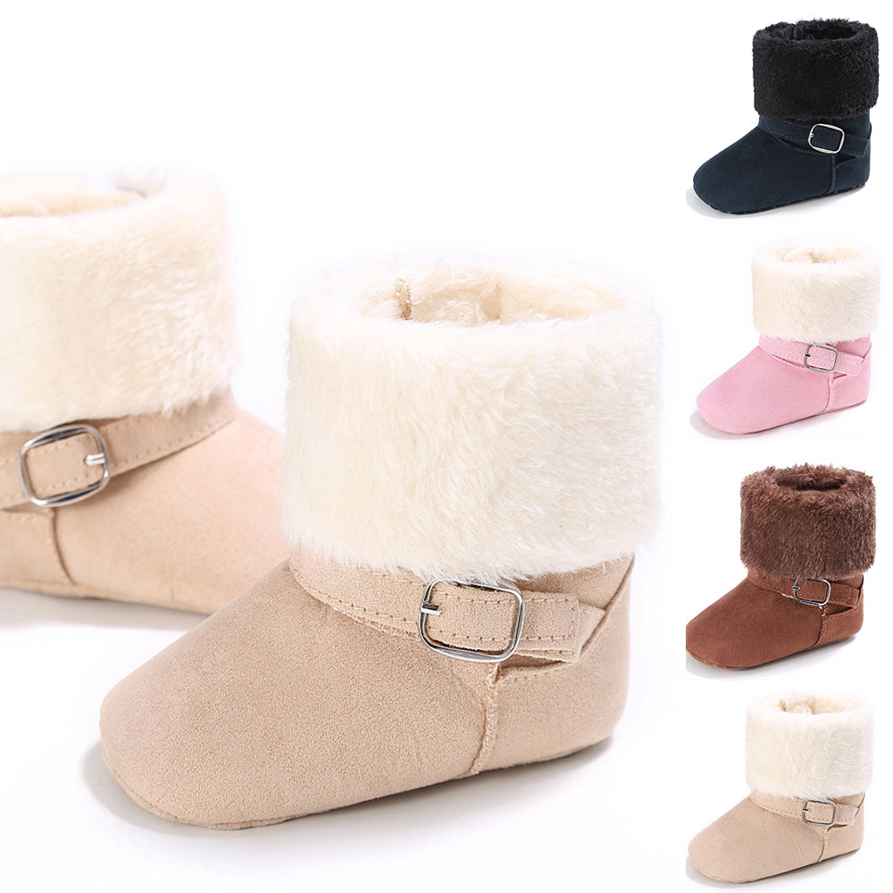 Baby Girl Button Slip On Ankle Boots Winter Warm Flat Shoes Prewalker Toddler