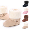 Image of Baby Girl Button Slip On Ankle Boots Winter Warm Flat Shoes Prewalker Toddler