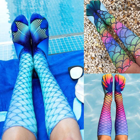 Women 3D Mermaid Print Socks Ladies Knee High Cosplay Beach Costume Stockings