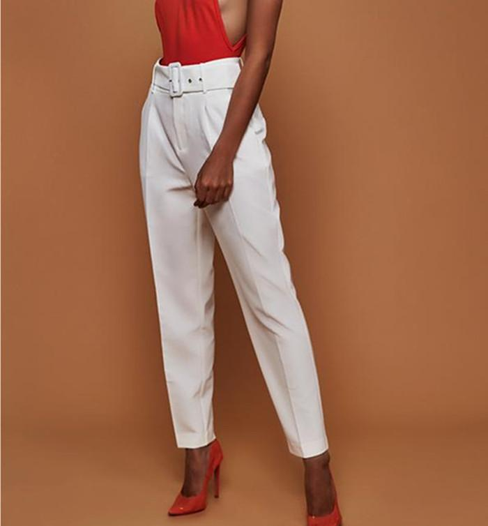 Women High Waist Office Formal/casual Pants Plain Trousers With Belt | Edlpe
