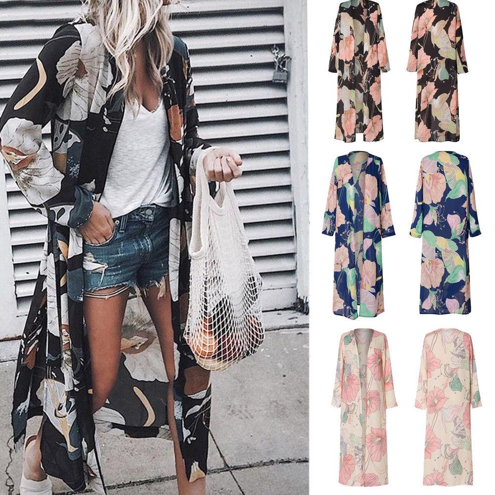 Women Floral Loose Kimono Cardigan Boho Beach Chiffon Tops Long Coat Blouse | Edlpe