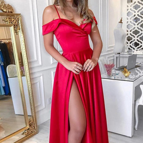 Women Sling V Neck High Slit Long Dress Ladies Evening Party Cocktail Ball Prom Gown