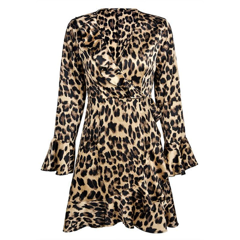 Stylish Leopard Print Flounces Dress | Edlpe