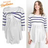 Image of Women Striped Blouse Tops Pregnant Maternity Casual Long Sleeve Ruffle Tee Shirt | Edlpe