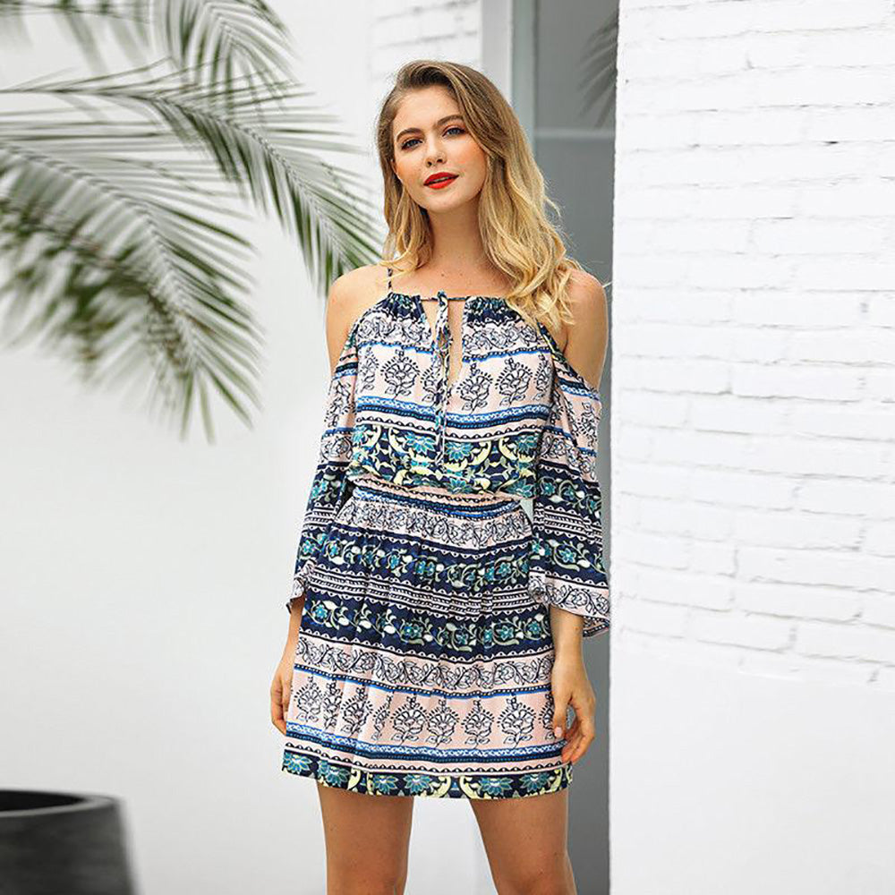 Womens Holiday Boho Cold Shoulder Mini Playsuit Ladies Short Jumpsuit Summer Beach Sundress | Edlpe