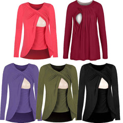 Autumn Breastfeeding Pure Color Layer Long Sleeves Blouse