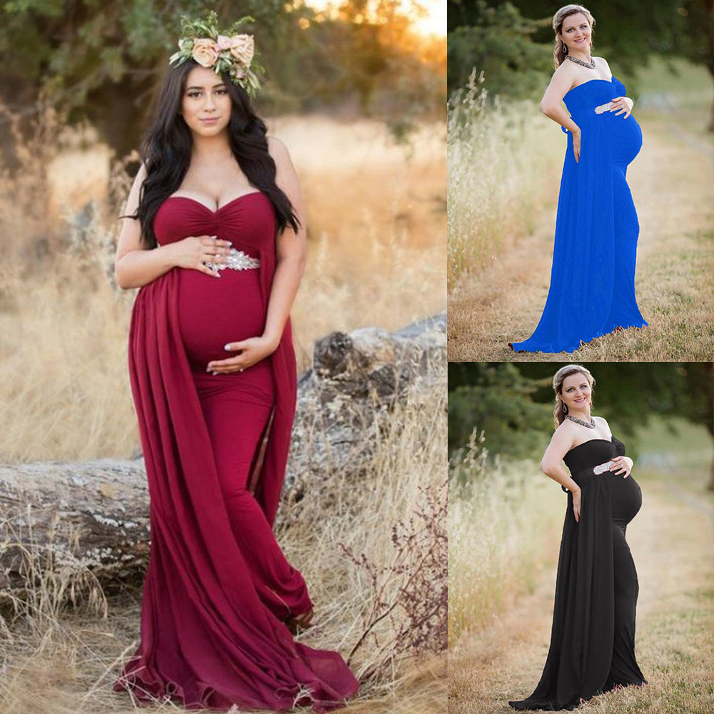 Party Chiffon Maternity Off Shoulder Fishtail Flowing Hem Bodycon Maxi Dress | Edlpe