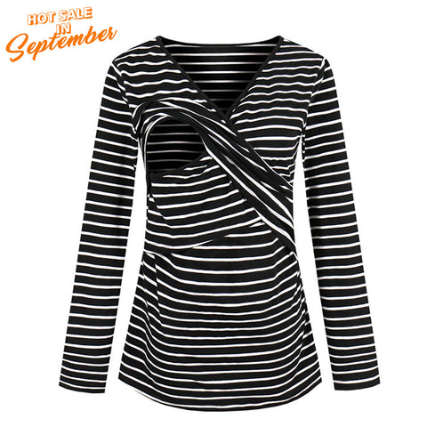 Women Striped Breastfeeding Tops Multifunctional Nursing Long Sleeve T-Shirts | Edlpe