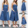 Image of Women Holiday Strappy Button Pocket Denim Dress Summer Beach Midi Swing Dress | Edlpe