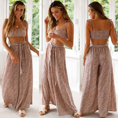 Women Floral 2PCS Outfits Matching Set Sling Crop Top Vest Casual High Waist Wide Legs Pants