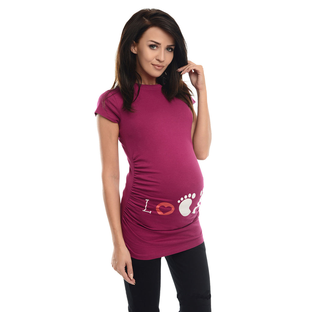 Casual Pregnant Pure Color Short Sleeves Patterning Close-Fitting Shirt | Edlpe