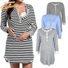 Image of Women Pregnancy Maternity Nursing Dress Striped Long Sleeve Breastfeeding Dress | Edlpe