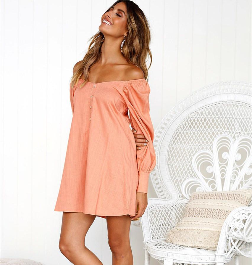 Womens Summer Off Shoulder Mini Dress Ladies Button Long Tops Short Sundress Blouse Shirt Dress | Edlpe