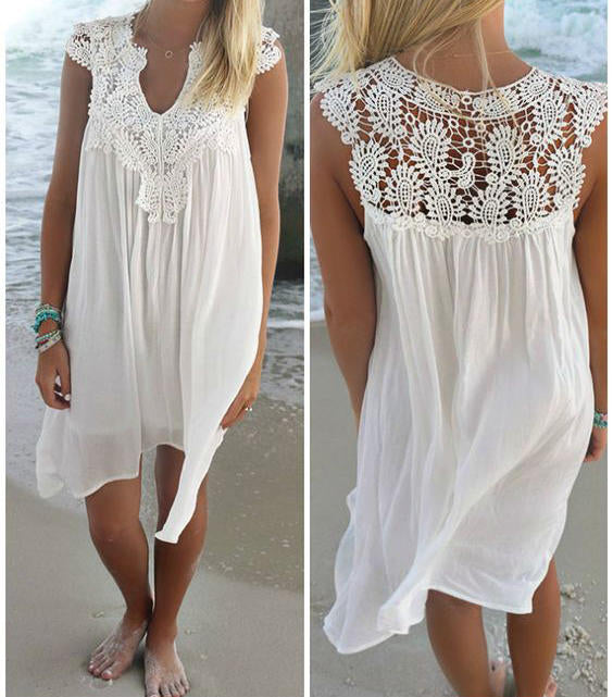 Women Chiffon Sleeveless Floral Lace Crochet Backless Beach Maxi Shirt Sun Dress | Edlpe