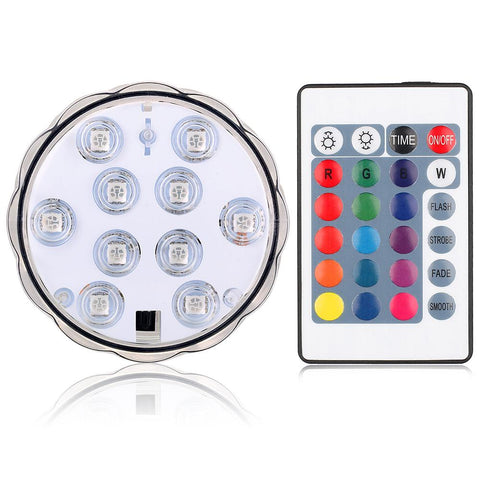 Rgb Led Underwater Light Remote Control Pond Submersible Ip68 Waterproof 16Colors/10Leds 5050Smd | Edlpe