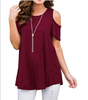 Image of S-5Xl Plus Size Women Summer Short Sleeve Tops Casual T-Shirt Plain Round Neck Loose Blouse 7 Color | Edlpe