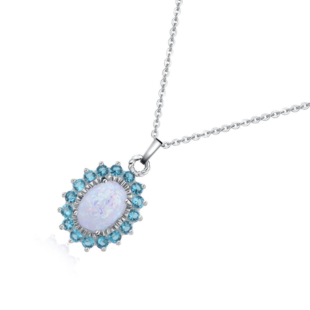 Romantic Oval Pendant Necklace Jewelry Chain Gifts For Women | Edlpe