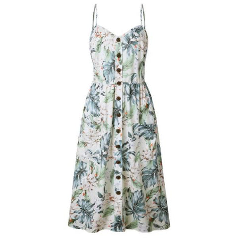 Womens Holiday Sleeveless Dress Summer Floral Strappy Party Sundress | Edlpe