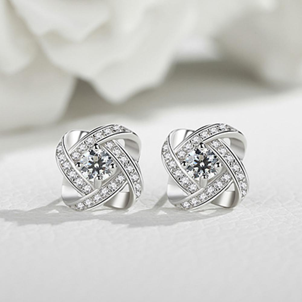Fashion Jewelry For Women Lucky Flower Earrings Cubic Zirconia Four Leaf Clover Stud | Edlpe