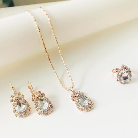 Jewelry Set Charm Crystal Water Drop Shape Necklace Earring Ring 3 Pcs Wedding Accessories | Edlpe