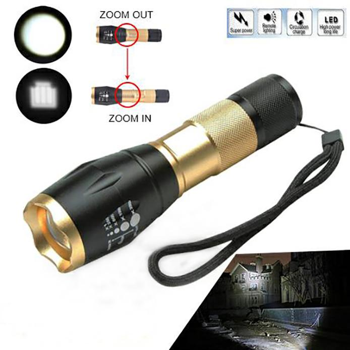 Cree L2 Led Zoomable Flashlight 5 Modes With Strobe Torch 3000Lm&charging Holder | Edlpe