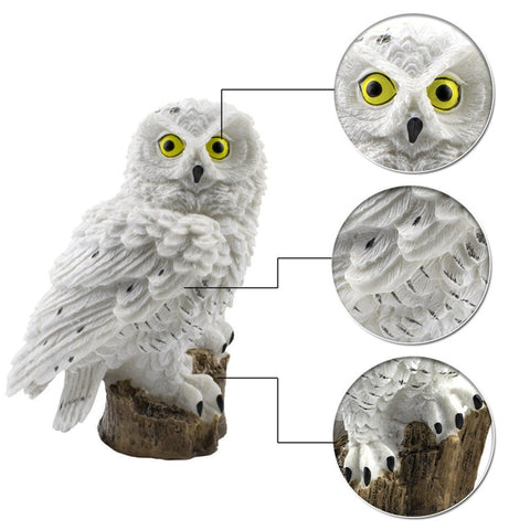 2 Colours Outdoor Garden Sculptures Lamp Owl Shape for Garden Decoration Waterproof Bird Resin Yard Garden Decor Sculptures