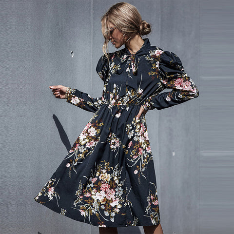 2020 New Autumn Elegant Fashion Slim Floral Dress Women High Wasit Butterfly Sleeve Black Dress Female Office Lady