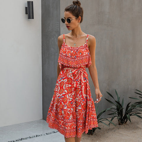 2020 New Fashion Summer Spaghetti Strap Dress Women Cotton Print V Neck Streetwear High Waist Sleeveless Dress