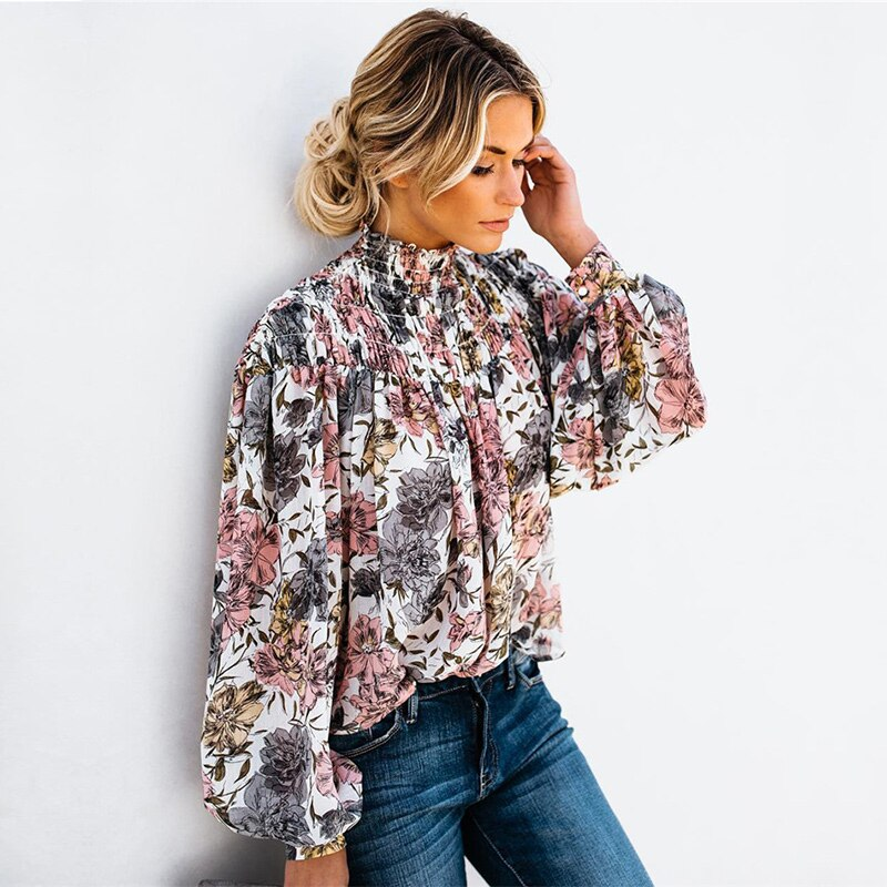 2020 New Spring Autumn Lantern Sleeve Print Blouse Wommen Turtleneck Casual Floral Shirt Top