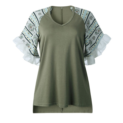 2020 New Summer Butterfly Sleeve Patchwork T Shirt Women V Neck Fashion Top