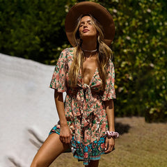 2020 New Summer Short Dress Women Flare Sleeve Bohemian Print Above Knee Mini Lace Up Print Dress
