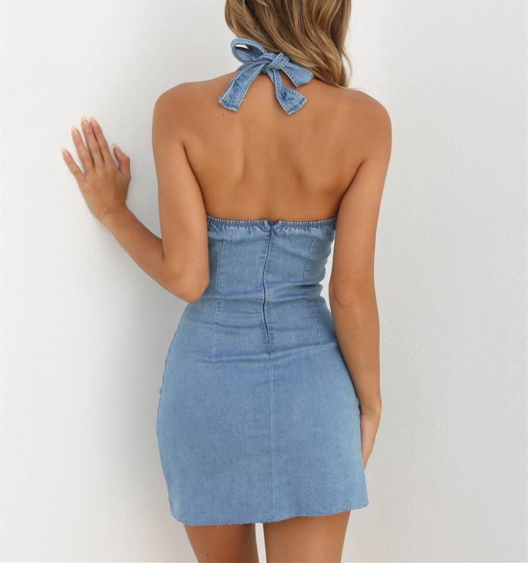 Womens Sexy Backless Lace Up Summer Bodycon Evening Party Short Mini Denim Dress | Edlpe