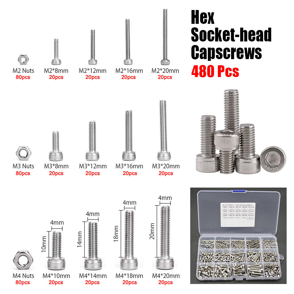 480Pcs Hex Socket Head Cap Screw Allen Bolt A2 Stainless Din 912 | Edlpe