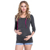 Image of Women Long Sleeve Nursing Top Ladies Breastfeeding Hooded Jumper Plain Maternity | Edlpe