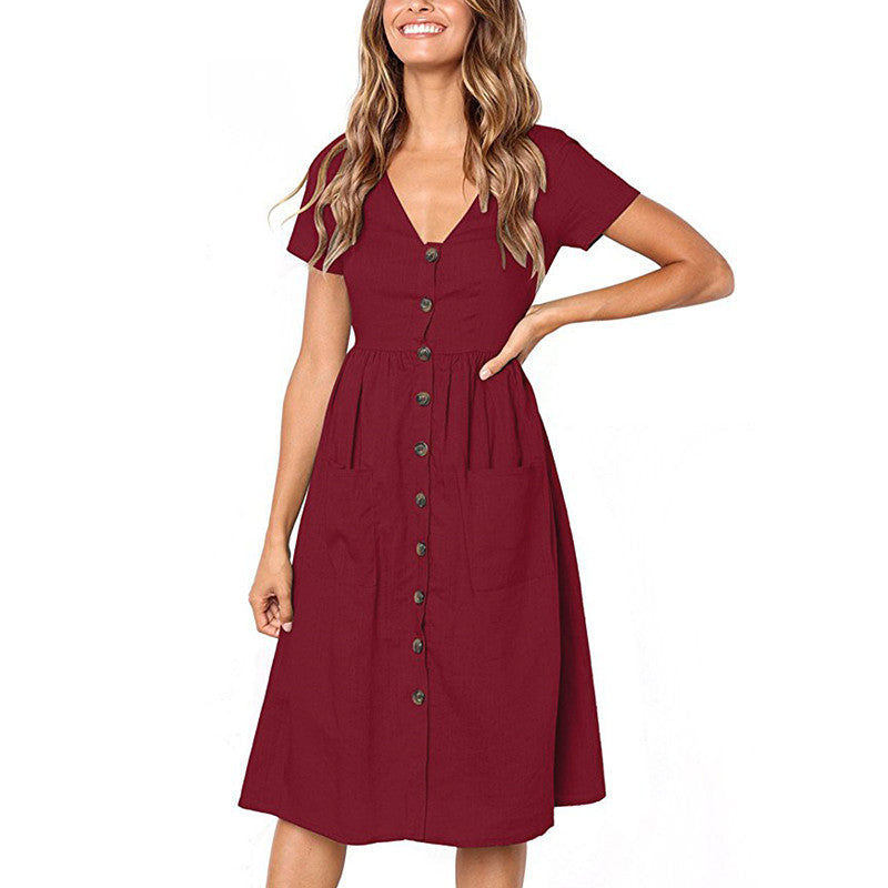Womens V Neck Holiday Solid Dress Summer Beach Button Pocket Midi Swing Sundress | Edlpe