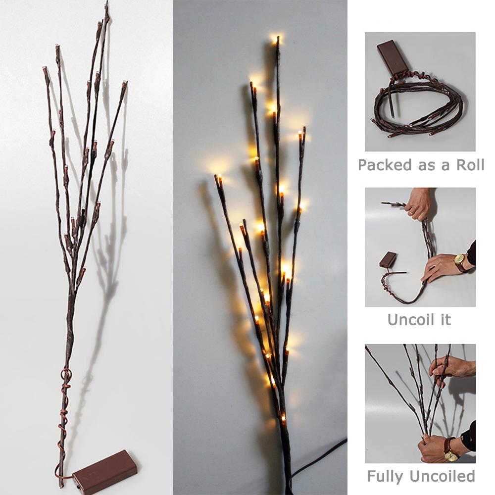 20 Led Warm White Battery Branch Party Fairy String Lights Home Decoration Floral Light | Edlpe