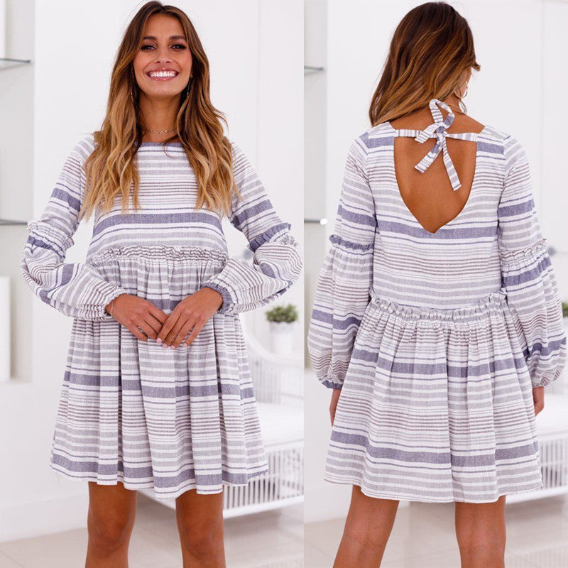 Women Loose Striped Long Sleeve Swing Dress Casual Party Backless Holiday Dress | Edlpe