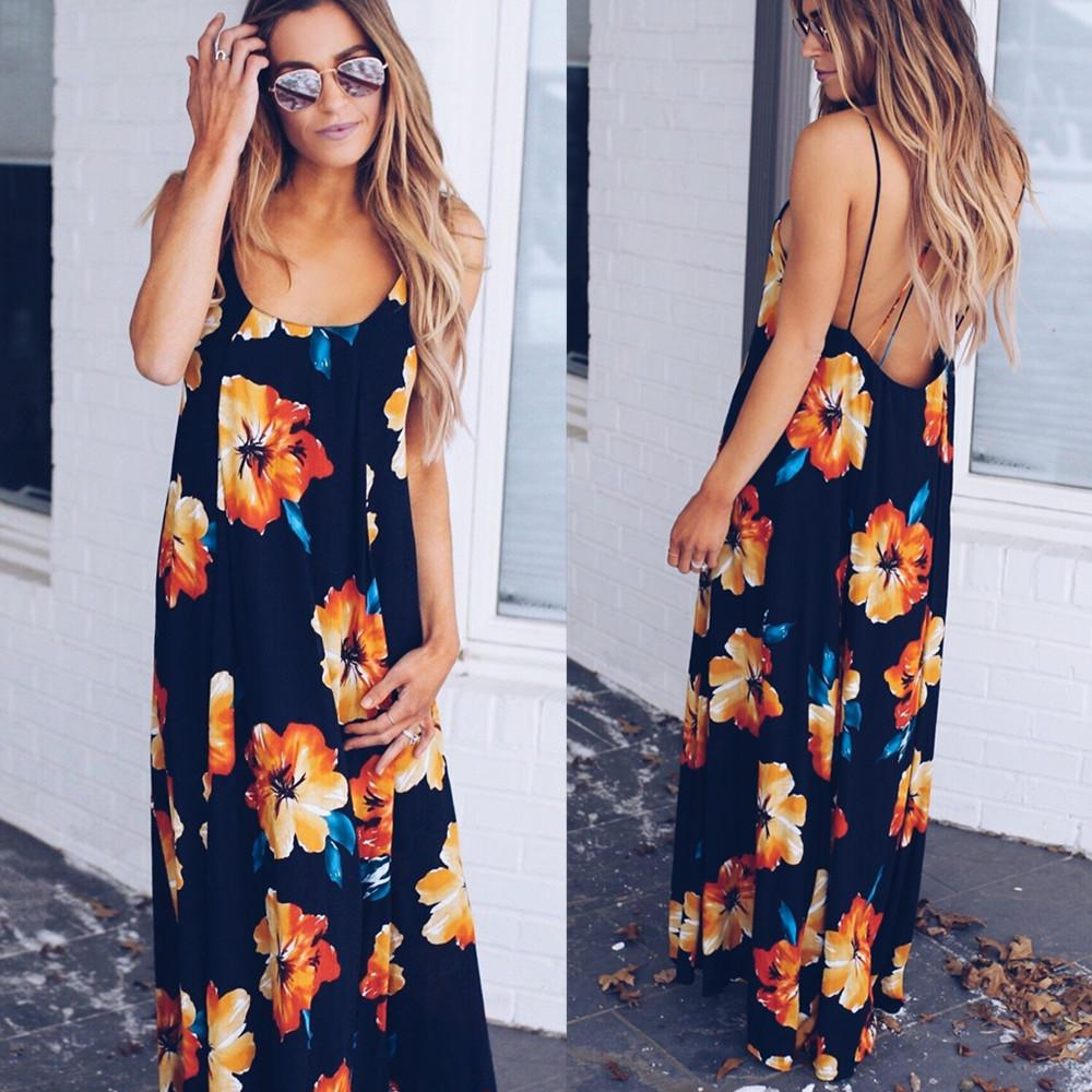 Women Fashion Sleeveless Floral Print Maxi Dress Backless Casual Party Long Strappy Dresses | Edlpe