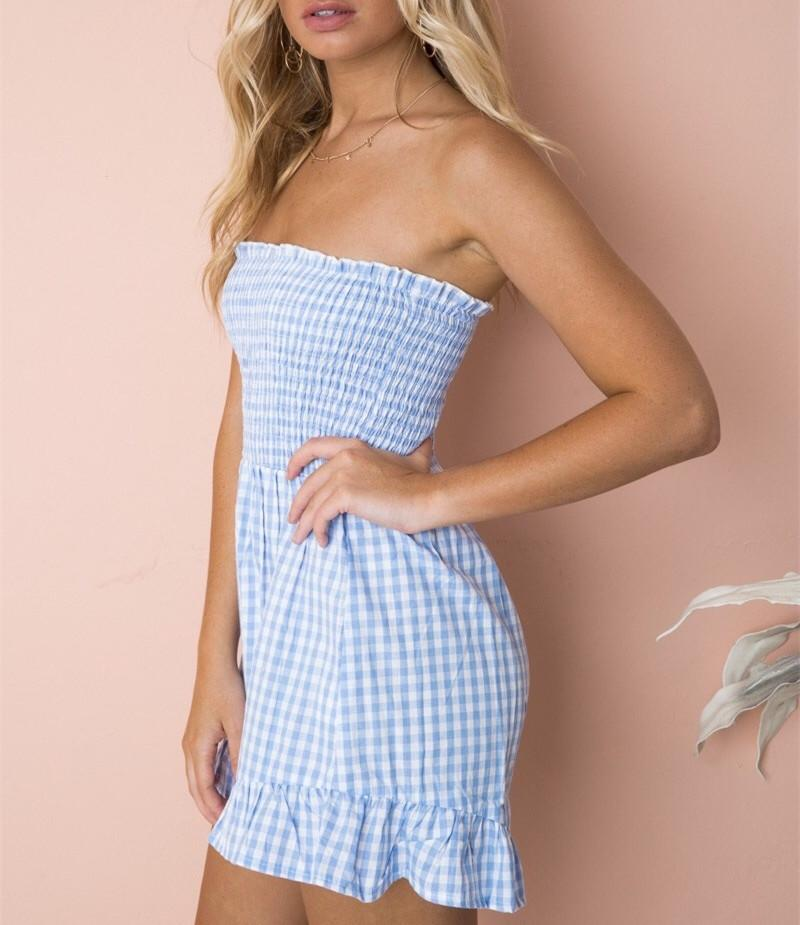 Women Sexy Off Shoulder Ruffled Jumpsuit Party Plaid Short Rompers Backless Strapless Playsuits | Edlpe