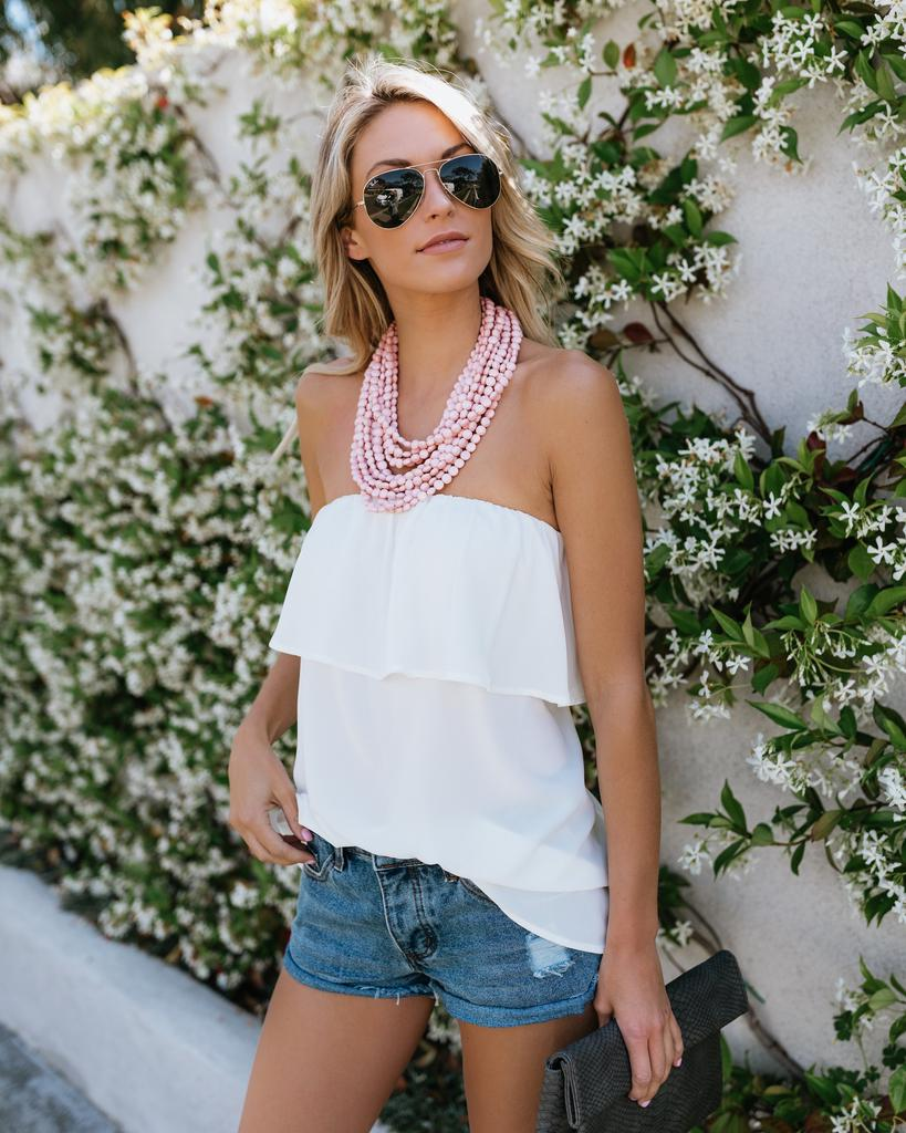 Womens Summer Off Shoulder Bandeau Ruffle Frill Tops Loose Beach Holiday Casual Sleeveless Blouse | Edlpe