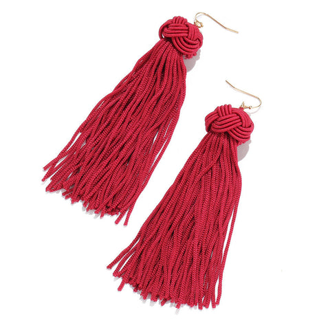 Bohemian Handmade Knitting Ball Long Tassel Hanging Earrings For Women Party Punk Drop Jewelry | Edlpe
