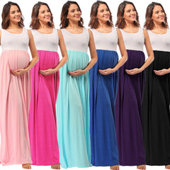 Leisure Pregnant Wear Scoop Collar Sleeveless Stitching Long Dress