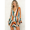 Image of Women V Neck Flared Sleeve Striped Ruffled Mini Dress Ladies Casual Swing Dress | Edlpe