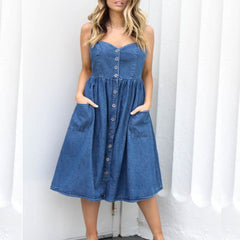 Women Holiday Strappy Button Pocket Denim Dress Summer Beach Midi Swing Dress