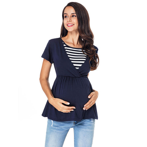 Mother Breastfeeding Stripe Stitching High Waist Short Sleeves Maternity Blouse | Edlpe