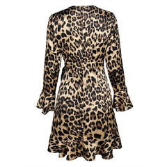Stylish leopard print flounces dress