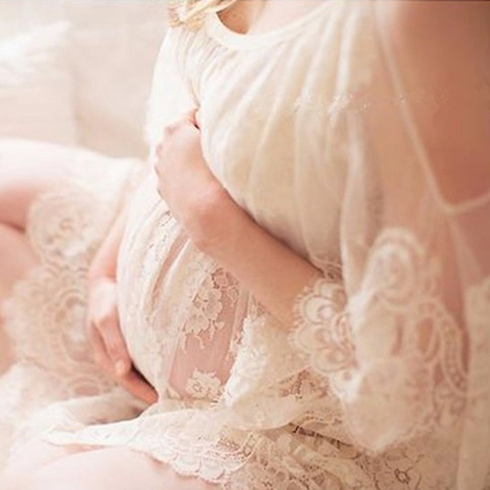 Sexy Perspective Lace Flower Embrodiery Maternity Cold Shoulder Dress | Edlpe