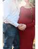 Image of Graceful Maternity Off Shoulder Solid Color Long Sleeves Tailed Bodycon Dress | Edlpe