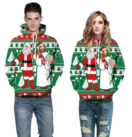 Christmas digital print hooded sweater